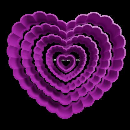Set de cortantes de corazón con onditas