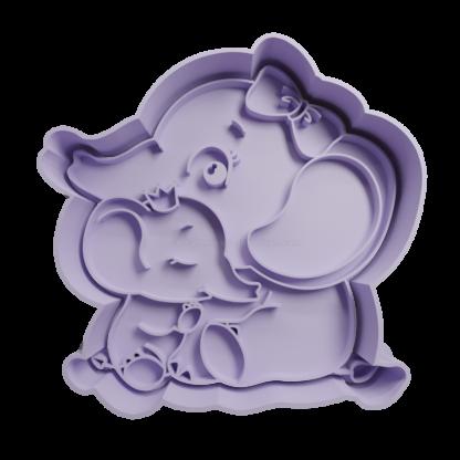 Cortante de elefante madre e hija