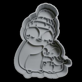 Cortante de Mama Pingüino con su hijo